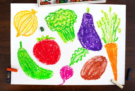 miscellaneous: Color drawing: miscellaneous types of vegetables Stock Photo