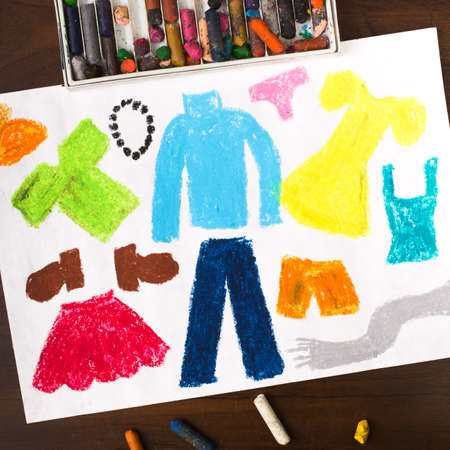 miscellaneous: Colorful drawing: miscellaneous types of clothing