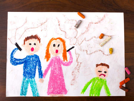 colorful drawing: parents smoking a cigarette and sad child