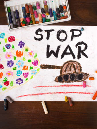 solider: colorful drawing with the words stop war