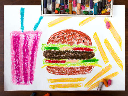 unhealthy: colorful drawing: unhealthy food