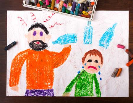 Kleurrijke tekening: vader drinken van alcohol en het huilende kind