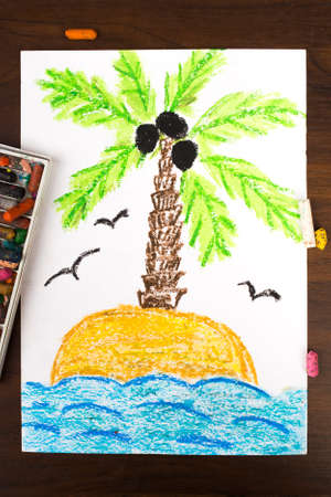 desert island: colorful drawing: a desert island Stock Photo
