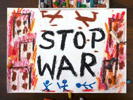 colorful drawing with the words stop war