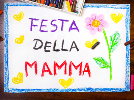 kid s illustration: Colorful drawing - Italian Mothers Day card with words Mothers Day