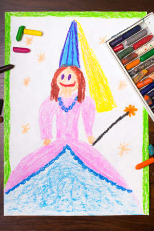 colorful dress: colorful drawing: princess in a  beautiful dress