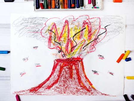 erupting: colorful drawing: erupting volcano Stock Photo
