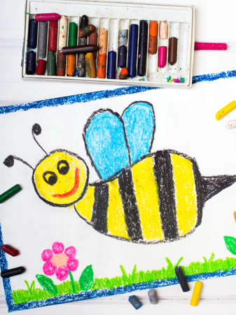 cute bee: Colorful drawing - cute bee with happy face