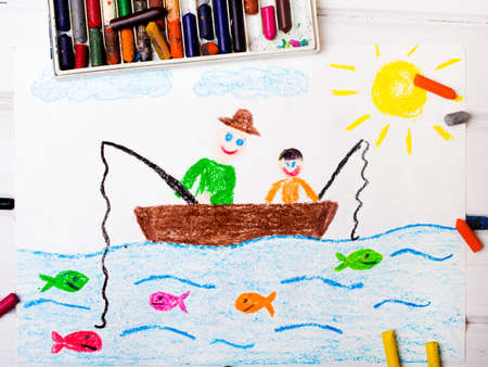 rhodium: colorful drawing: fishing father and son Stock Photo