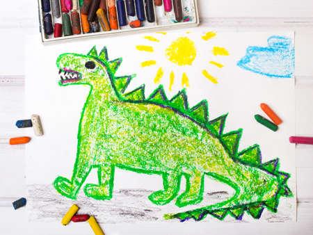 green dragon: colorful  drawing: green dragon