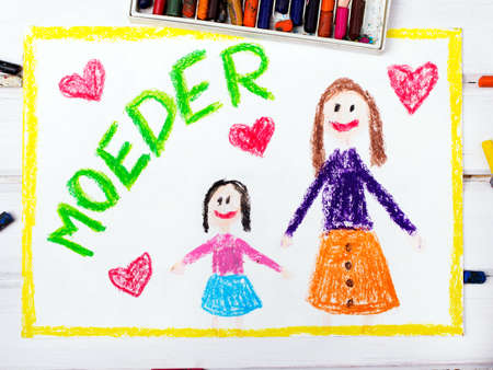 coloured pencils: Colorful drawing - Nederlands Mothers Day card with words Mother
