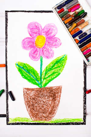 kids painted hands: colorful drawing: pink flower Stock Photo
