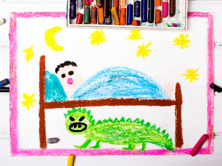 child sleeping: colorful drawing: scary monster under the childrens bed Stock Photo