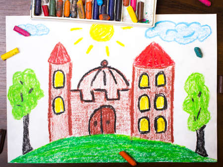 crayon: colorful drawing: medieval castle on the hill Stock Photo