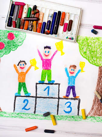 winner podium: colorful drawing: happy children standing on the winner podium with cups in their hands