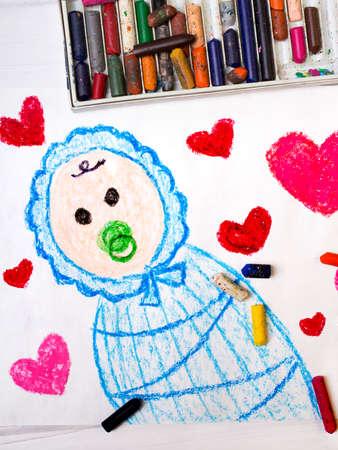 teat: colorfur drawing: cute newborn in a blue sleeping sack