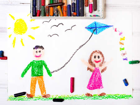 child drawing: Colorful drawing: Children playing with a kite Stock Photo