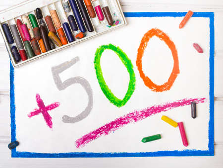 Colorful drawing: Social policy in Poland - a program to support families. 500 PLN for second and next child. Stock Photo