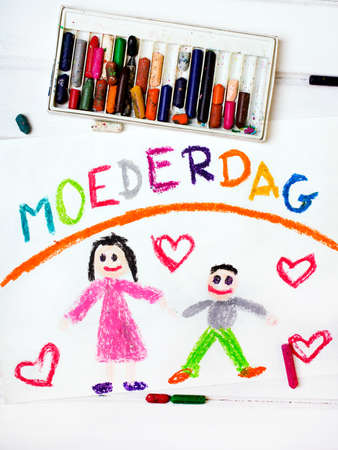 coloured pencils: Colorful drawing - Dutch Mothers Day card with words Mothers Day Stock Photo