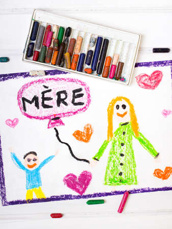 coloured pencils: Colorful drawing - French Mothers Day card with words Mother