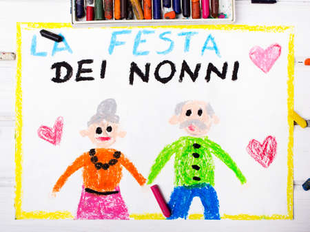 old person: Colorful drawing: Italian grandparents day card