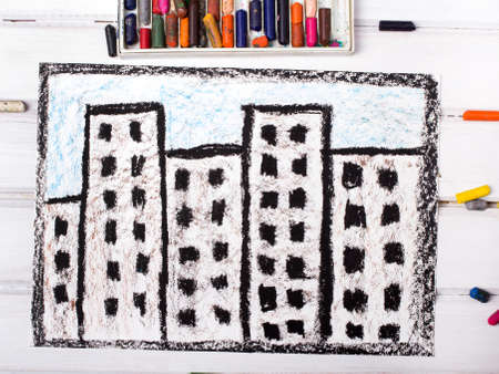child drawing: colorful drawing: residential block Stock Photo