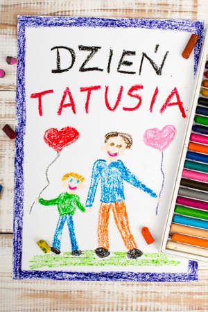 coloured pencils: Happy fathers day card made by a polish child