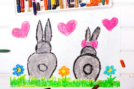 infatuation: Colorful drawing: rabbits in love Stock Photo