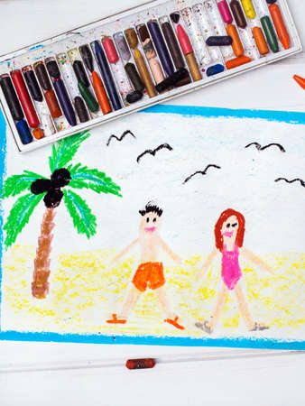 happy couple beach: Colorful drawing: happy couple on the beach Stock Photo