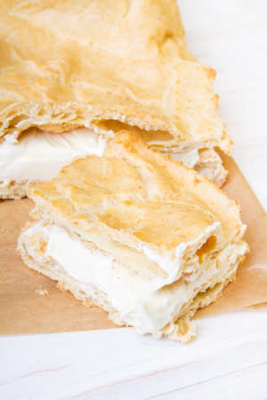 custard flavor: Delicious Polish cake with creme, called Karpatka Stock Photo