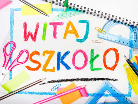 učebnice: Colorful drawing of the Polish words Welcome back to school and school accessories