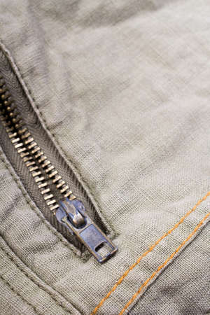 depth of field: closeup of a metal zipper - shallow depth of field