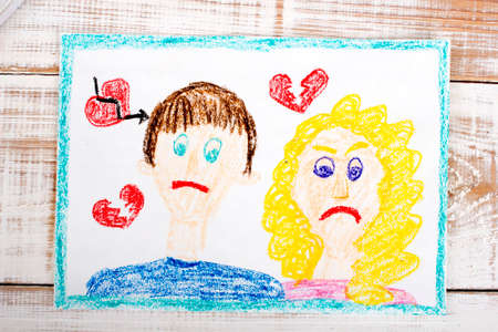 breakup: Representation of marriage break up or divorce - colorful drawing