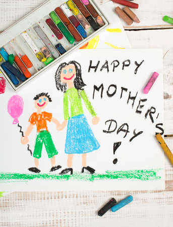 coloured pencils: Happy mothers day card made by a child Stock Photo