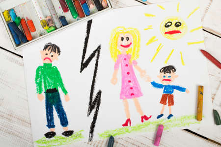Representation of marriage divorce or  break up - colorful drawing Stock Photo
