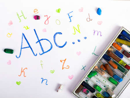 pensil: ABC letters on paper