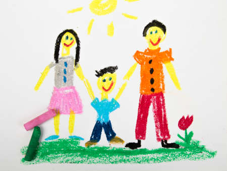 oil pastels: oil pastels drawing: happy family Stock Photo