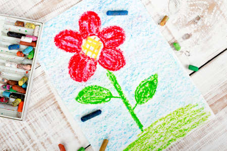 colorful drawing: beautiful flower Stock Photo