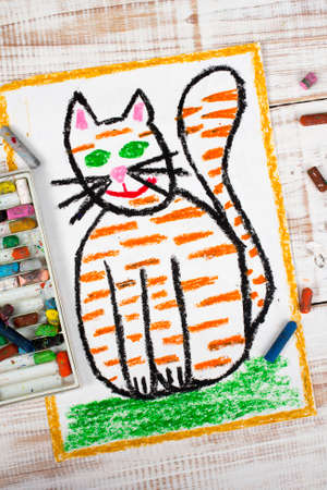 ginger: colorful drawing: fat ginger cat