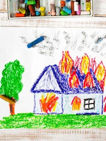burning house: colorful drawing: burning house Stock Photo