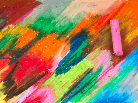 oil pastels: oil pastels crayons on colorful background Stock Photo