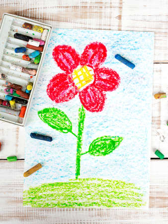 kids painted hands: colorful drawing: beautiful flower Stock Photo