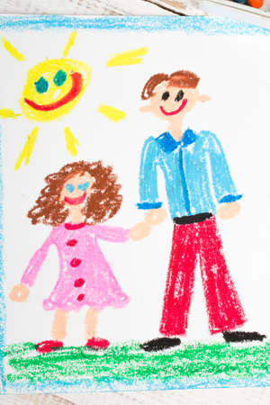 coloured pencils: Happy fathers day card made by a child Stock Photo
