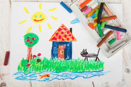oil pastels: oil pastels drawing: country house