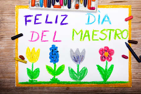 maestro: Colorful drawing - Spanish Teachers Day card with words Dia del Maestro Stock Photo