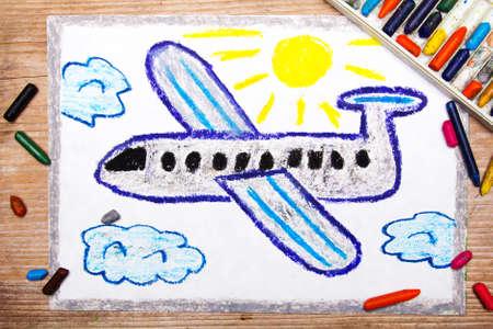 the passenger: colorful drawing: passenger plane Stock Photo