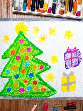 christmas gifts: colorful drawing: Christmas tree and gifts