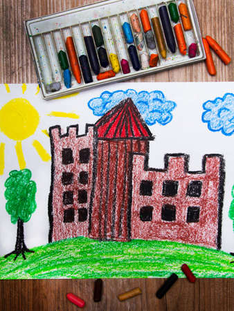 medieval castle: colorful drawing: medieval castle on the hill Stock Photo