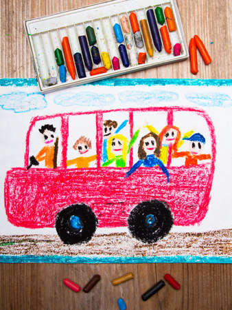 schoolbus: Colorful drawing - red school bus with happy children inside