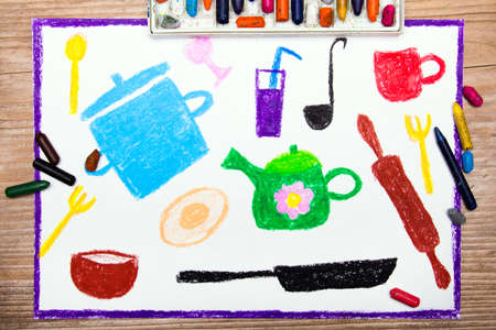 colorful drawing: kitchen accessories Stock Photo
